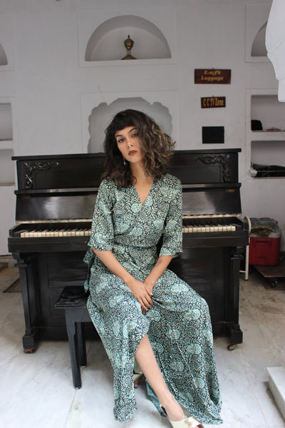 KIMONO WRAP DRESS GREEN Pushkar princess -  AUROBELLE  IBIZA