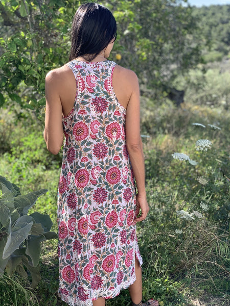Kurti dress with hand block print and hand embroidery -  AUROBELLE  IBIZA