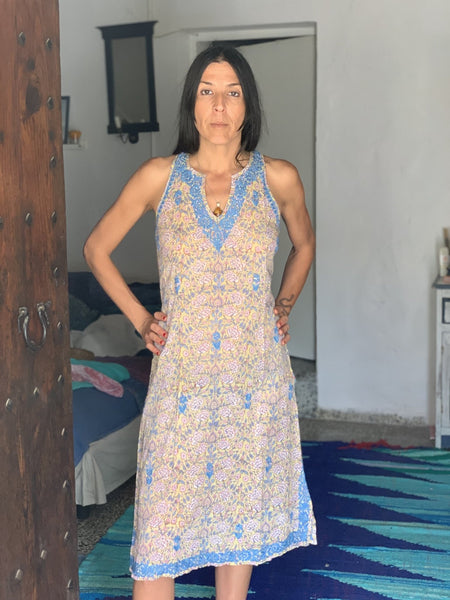 Kurti dresswith hand block print and hand embroidery -  AUROBELLE  IBIZA