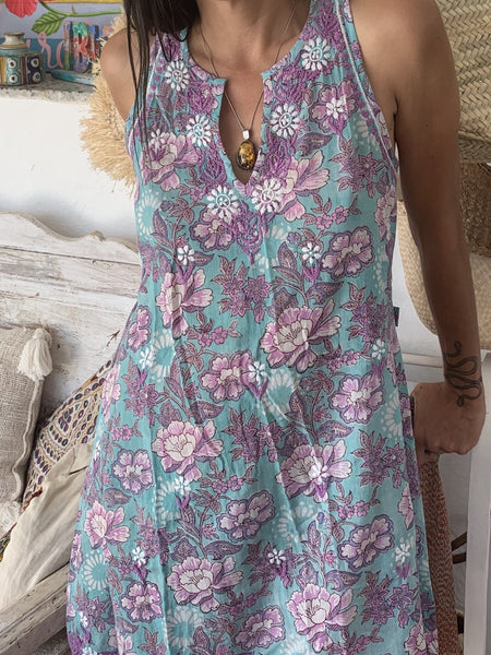 Kurti with hand block print and hand embroidery -  AUROBELLE  IBIZA