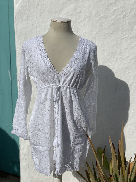 Lagos White resort wear tunica -  AUROBELLE  IBIZA
