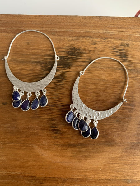 Lapislazuli gemstone designer earrings -  AUROBELLE  IBIZA