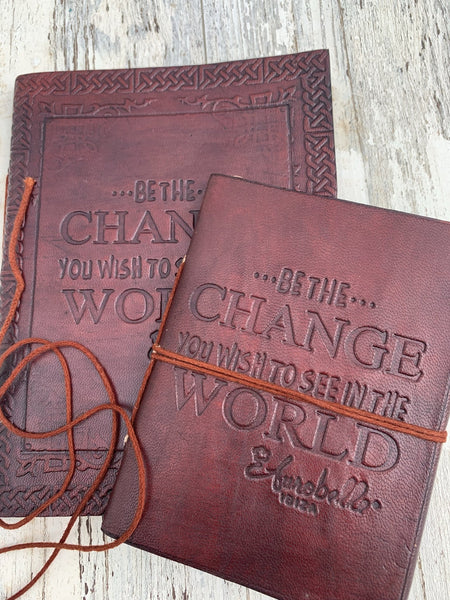 Leather diary made with hand  made paper -  AUROBELLE  IBIZA