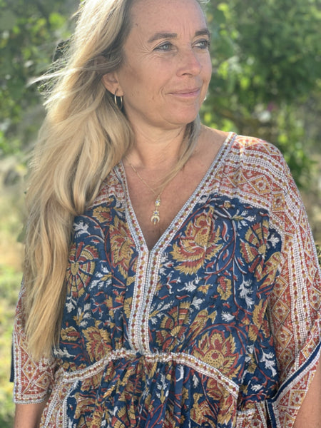 Long  bottom kaftan in modern mixed blockprint -  AUROBELLE  IBIZA