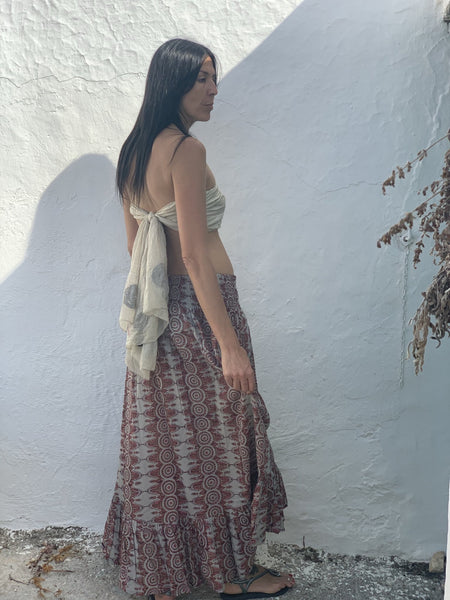 Lorenza skirt blockprint brown -  AUROBELLE  IBIZA