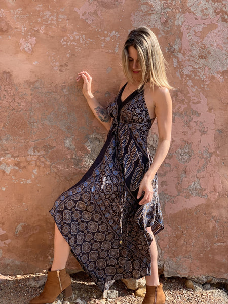 Magic DRESS silky black and brown -  AUROBELLE  IBIZA