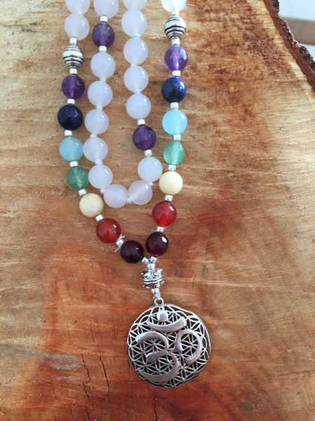 Mala from the Himalayas with loving moonstone , chakra colours gemstone and silver shiva om pendant -  AUROBELLE  IBIZA