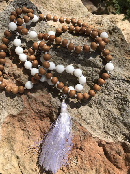 Mala from the Himalayas with real white moon stone semi precious gemstone and the sandel wood beads  , silver beads and silk tassle -  AUROBELLE  IBIZA