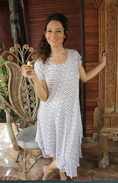 MAMA DRESS beige and white stripes -  AUROBELLE  IBIZA