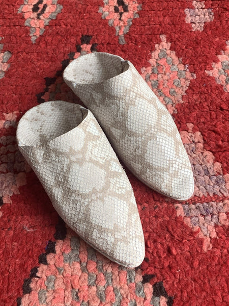 Marrakesh trendy Babouche slippers animal print off white -  AUROBELLE  IBIZA