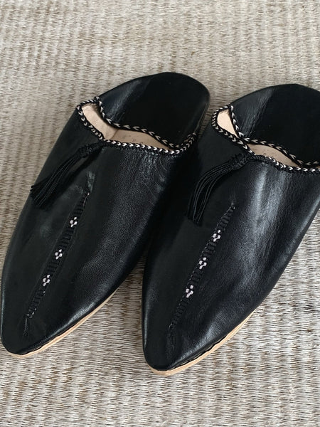 Marrakesh trendy Babouche slippers black -  AUROBELLE  IBIZA