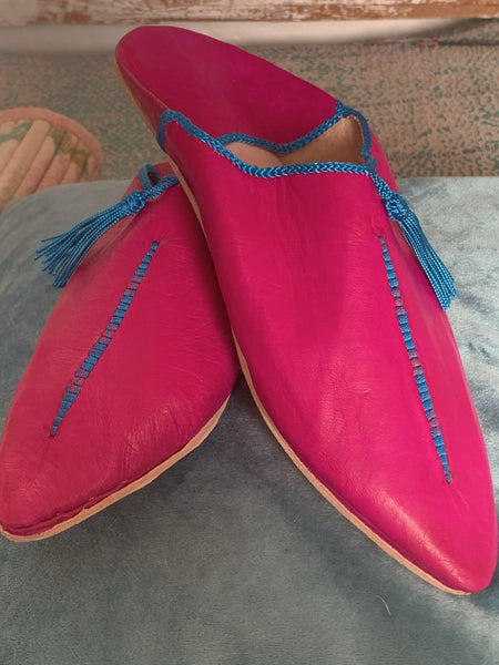 Marrakesh trendy Babouche slippers pink and turquoise fringes -  AUROBELLE  IBIZA