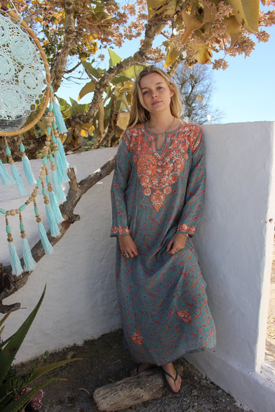 MAXI KAFTAN SILK MAGIC GARDEN BLUE -  AUROBELLE  IBIZA