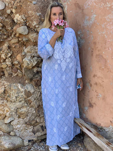 Maxi kurta muslin cotton light blue -  AUROBELLE  IBIZA