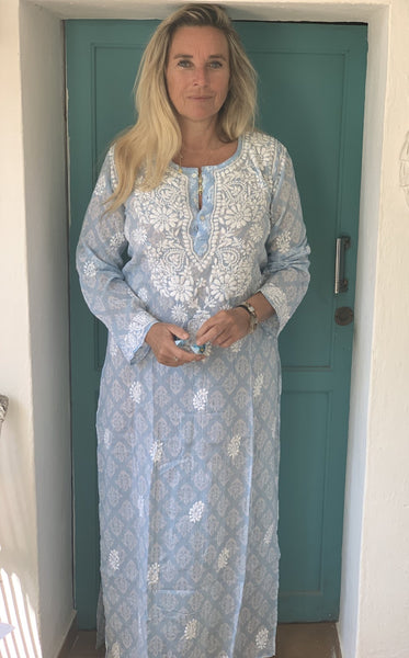 Maxi kurta muslin cotton pastel light blue -  AUROBELLE  IBIZA