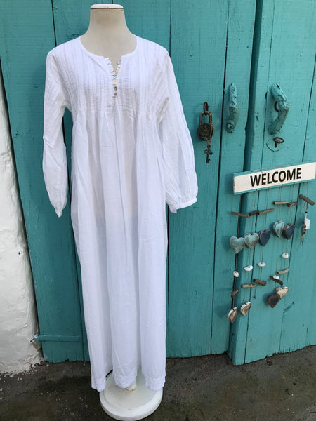 Maxi lenght  Ibiza kaftan  dress in muslin cotton with hand embroidery -  AUROBELLE  IBIZA