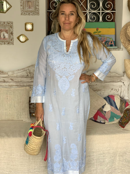 Maxi length cotton kurta with hand embroidery 48 inch length -  AUROBELLE  IBIZA