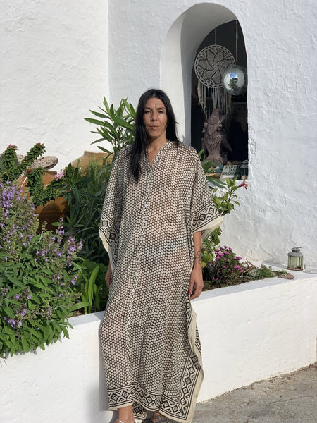 Maxi long free size bottom kaftan in modern mixed blockprint -  AUROBELLE  IBIZA