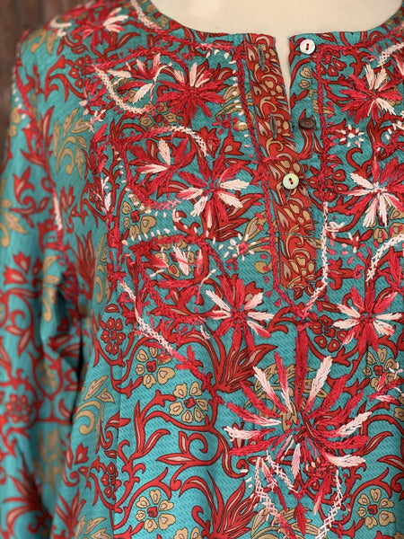 Maxi long tunica silk turquoise red with hand embroidery -  AUROBELLE  IBIZA