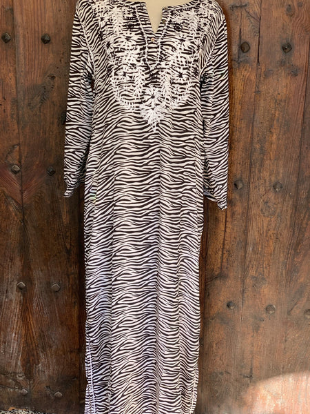 Maxi long tunica silk zebra with hand embroidery -  AUROBELLE  IBIZA