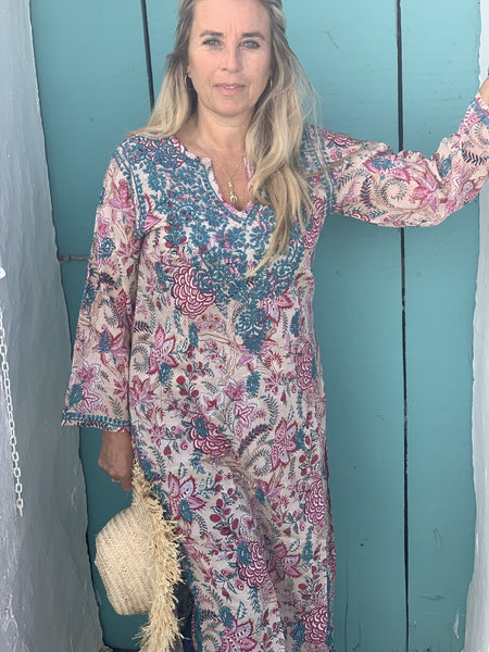 Maxi v neck kurta maxi 2020 collection -  AUROBELLE  IBIZA
