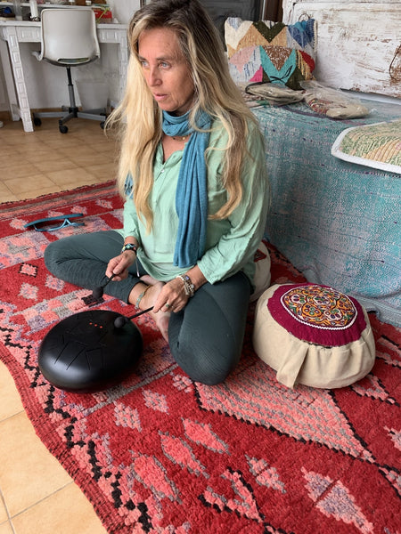 Meditation cushion with ethnic Indian embroidery no 1 -  AUROBELLE  IBIZA
