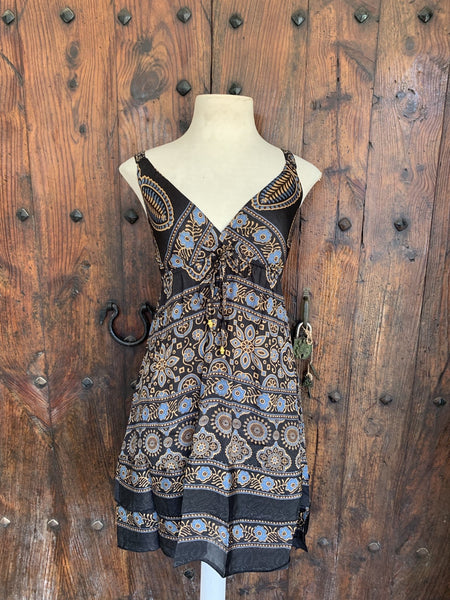 Mini dress in silky beautiful black and brown -  AUROBELLE  IBIZA