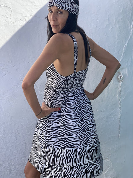 Mini dress in silky beautiful black and white zebra animal print -  AUROBELLE  IBIZA