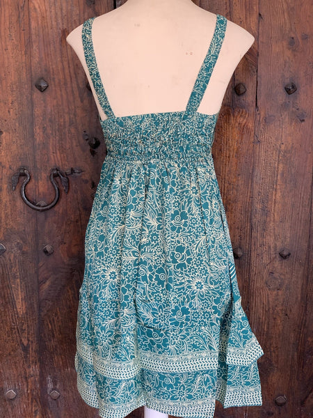Mini dress in silky emerald -  AUROBELLE  IBIZA