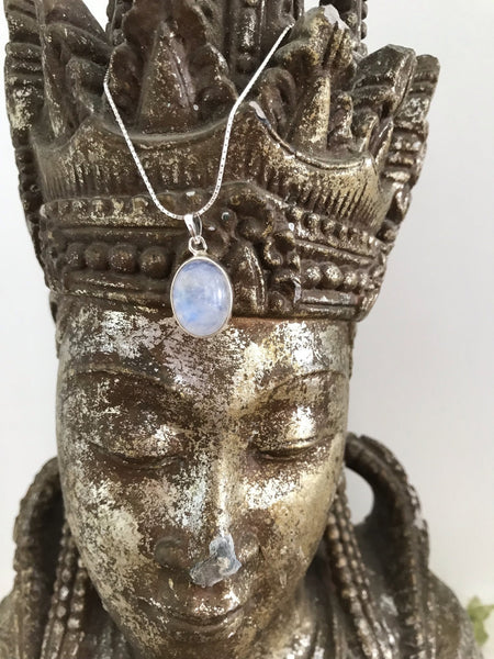 Moon stone and silver necklace -  AUROBELLE  IBIZA
