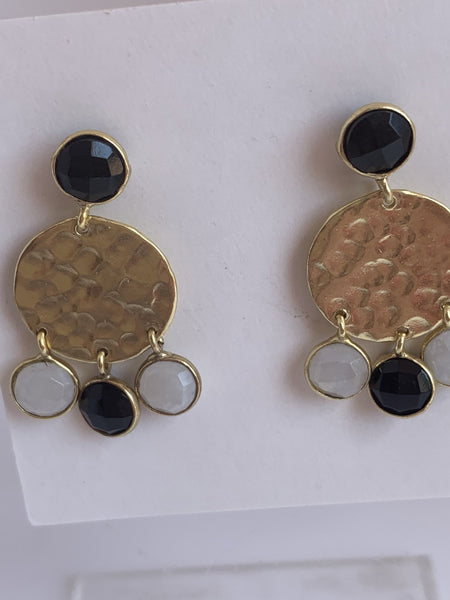 Moon stone gemstone designer earrings -  AUROBELLE  IBIZA