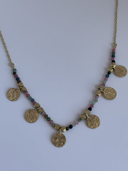 Multi  color gemstone designer necklace -  AUROBELLE  IBIZA