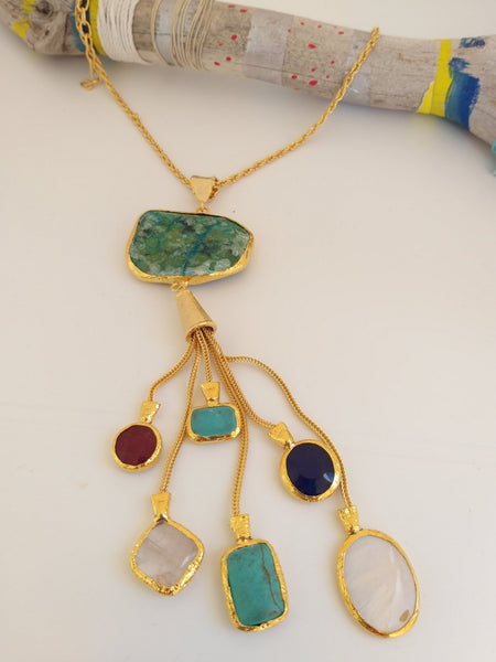 Multi color Shinny island Quartz necklace -  AUROBELLE  IBIZA