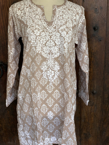Muslin cotton v neck kurta in sand color with hand embroidery -  AUROBELLE  IBIZA