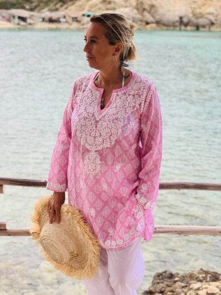 Muslin cotton v neck tunica in Rosa  color with hand embroidery -  AUROBELLE  IBIZA