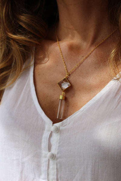 Necklace crystal quartz -  AUROBELLE  IBIZA