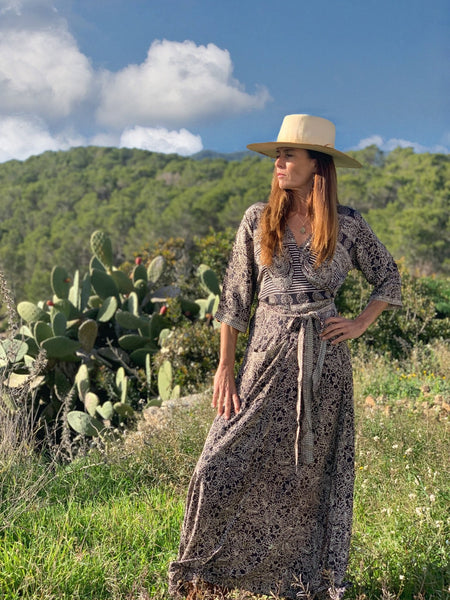 PUSHKAR PRINCESS  WRAP DRESS in black and brown -  AUROBELLE  IBIZA