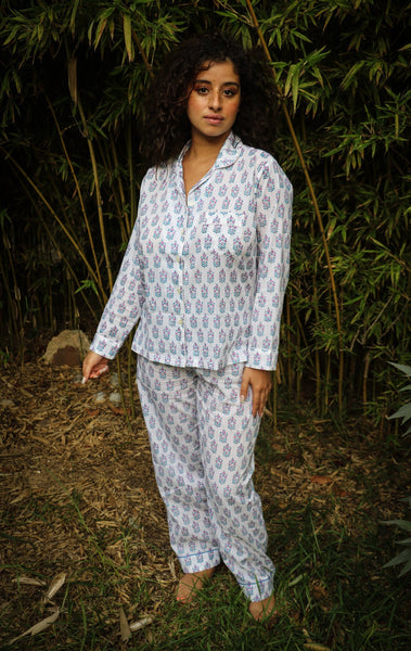 Pyjama ,set ,bohemian lounge wear made with hand block print cotton - AUROBELLE IBIZA