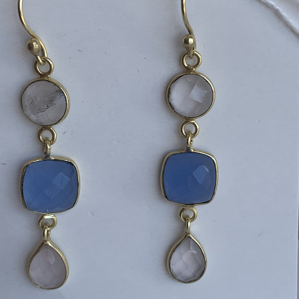 Quartz and blue chalcedony gemstone designer earrings -  AUROBELLE  IBIZA