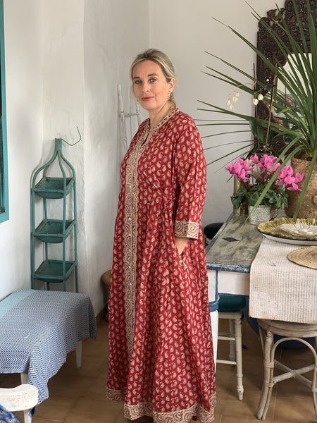 Rangoli Long Kaftan red hand block cotton -  AUROBELLE  IBIZA