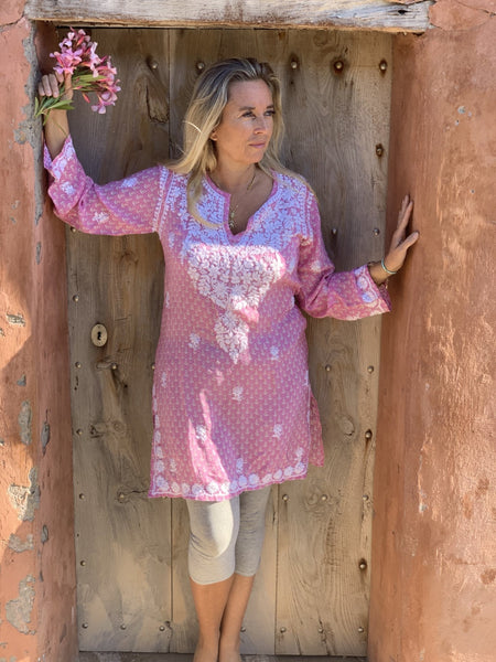 Resortwear Silk tunica in stunning   design and amazing hand embroidery -  AUROBELLE  IBIZA