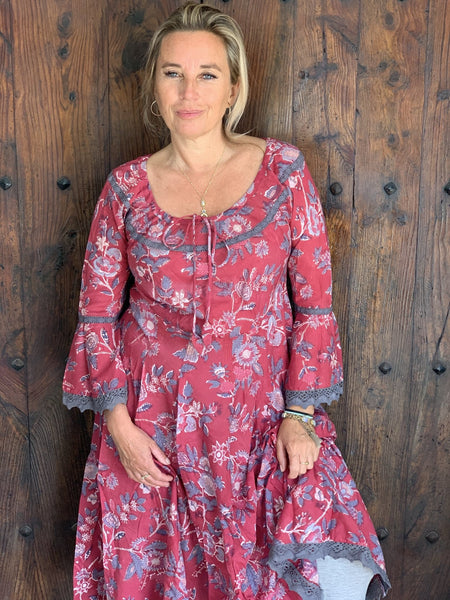Romantic hand block printed flower dress from Ibiza -  AUROBELLE  IBIZA
