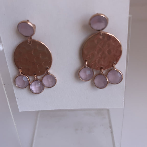 Rose quartz stone gemstone designer earrings -  AUROBELLE  IBIZA