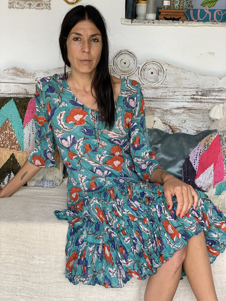 San Francisco Hand block printed flower dress from Ibiza -  AUROBELLE  IBIZA
