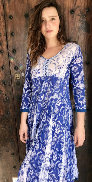 Sanganeer blue blockprinted flower dress -  AUROBELLE  IBIZA