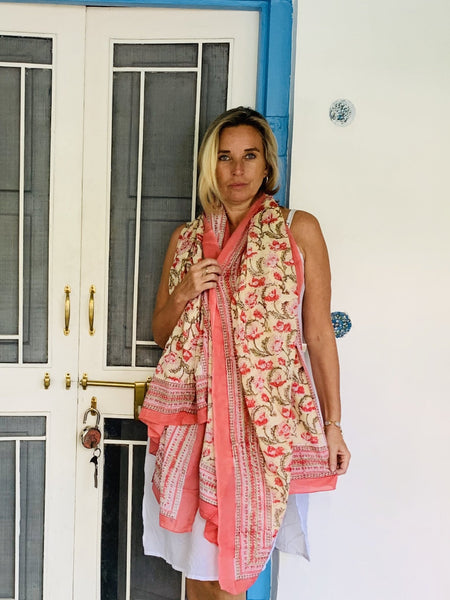 Sarong block printed with lovec -  AUROBELLE  IBIZA
