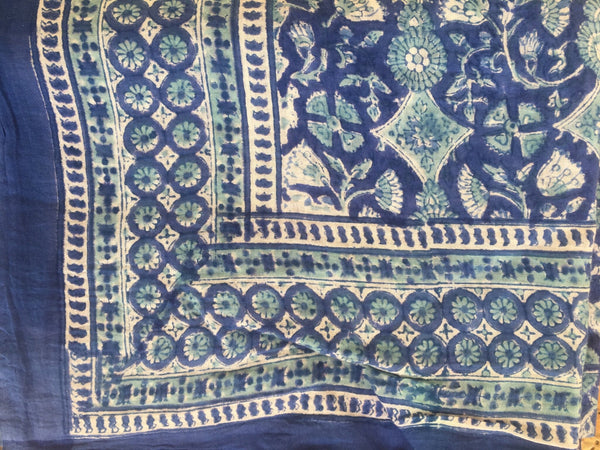 Sarong in hand block print cotton -  AUROBELLE  IBIZA