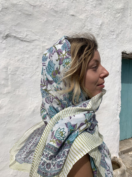Sarong new collection amazing hand block printed cotton Pareos - AUROBELLE IBIZA
