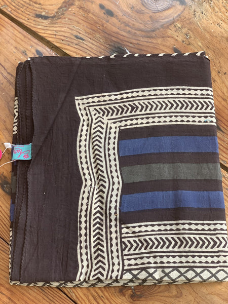 Sarong  or pareo in hand block print cotton . Ideal for beach , summer clothing , gift or home deco . -  AUROBELLE  IBIZA