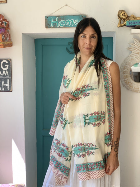 Sarong pareo in hand block print cotton -  AUROBELLE  IBIZA